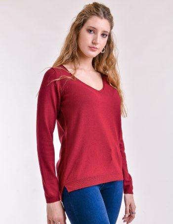 sweater escote V rojo