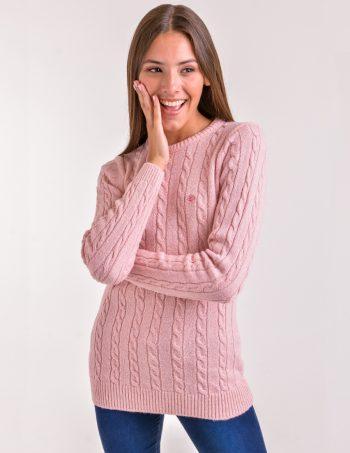 sweater con trenzas mujer rosa